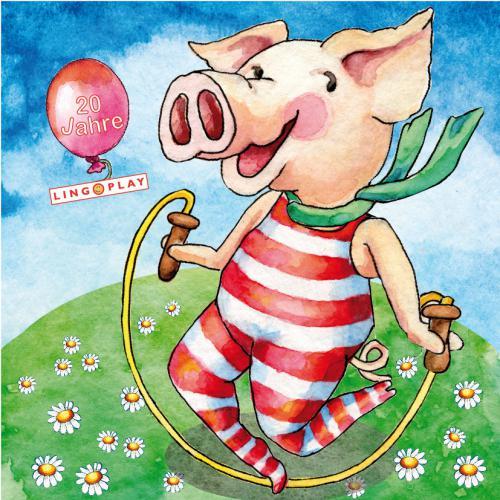 Aquarellbild Piggy turnt!