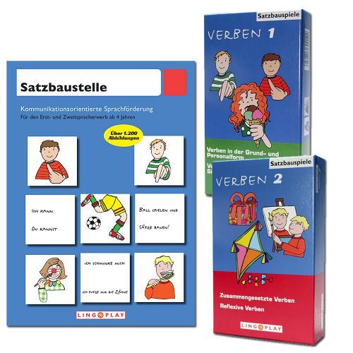 Paket: Satzbaustelle - Arbeitsbuch & 2 Spieleboxen